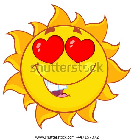 Love Sun Cartoon Mascot Character. Raster Illustration Isolated On White Background