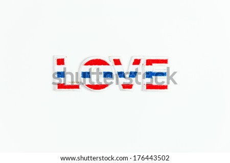 love text with Thailand flag coulor on white back ground