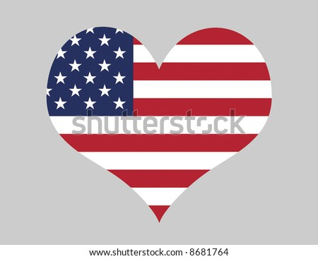 Love The USA - Heart Shape With US Flag