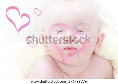 love  theme - child waiting for a kiss with hearts - stock photo