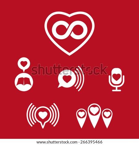 Love theme icons set, conceptual valentine and romantic symbols collection. - stock photo