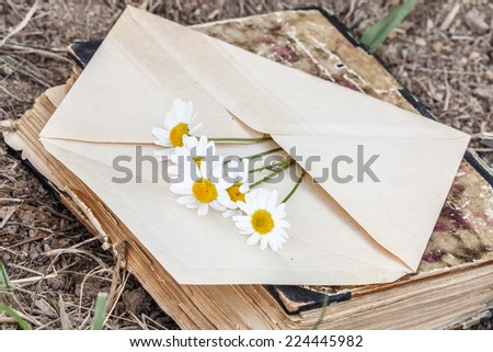 love theme - vintage envelope with daisy flower with old book - stock photo