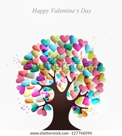 Love transparent hearts concept tree for Valentines day.