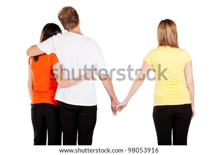 love triangle between 3 young people - stock photo