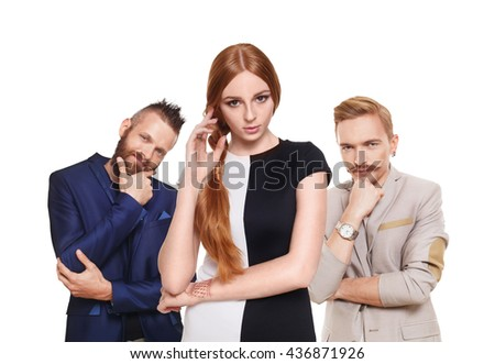 Love triangle. Young beautiful woman choose from to handsome men isolated at white. Hard choice, lover, husband. Adultery, relationship issue, love problem concept. Girl think who to choose. - stock photo