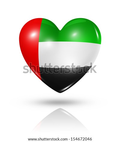 Love United Arab Emirates symbol. 3D heart flag icon isolated on white with clipping path - stock photo
