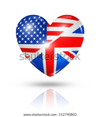 Love USA and UK symbol. 3D heart flag icon isolated on white with clipping path - stock photo