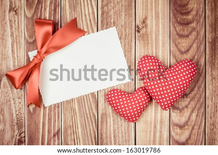 Love Valentine letter with two hearts in vintage style - stock photo