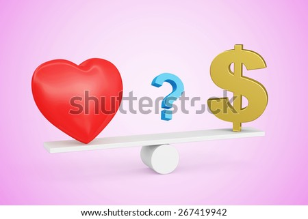 Love vs Money concept or Love vs Carrier concept. Red heart, Dollar sign and Question mark on scales isolated on pink gradient background - stock photo