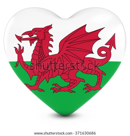 Love Wales Concept Image - Heart textured with Welsh Flag - stock photo
