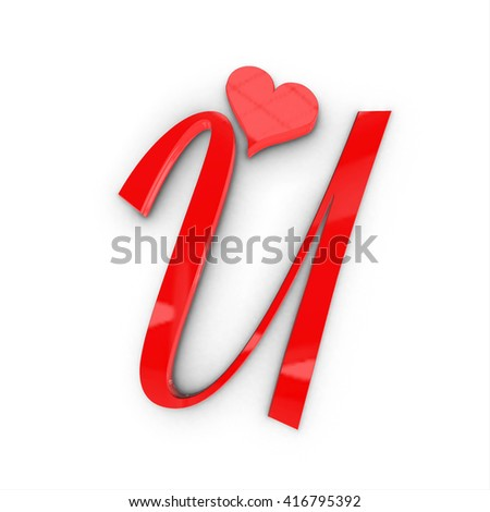 Love wedding letter and number alphabets 3d render, 3d illustration
