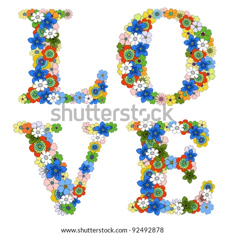 Love word. Floral pattern. - stock photo