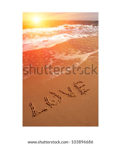 love word on sea beach - stock photo