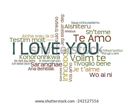 "love words ""I love you"" in different languages of the world, words cloud on white background - stock photo"