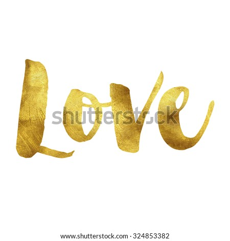 Love written in gold leaf - stock photo