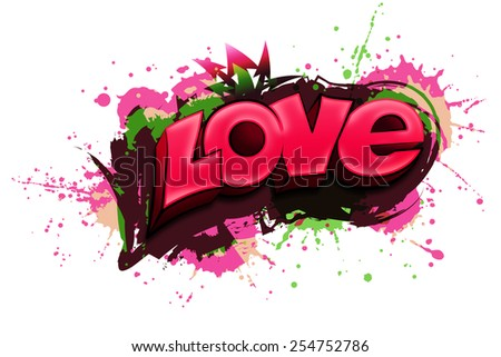 LOVE written in graffiti-style - stock photo