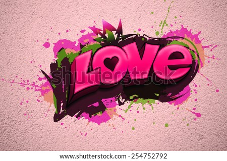 LOVE written in graffiti-style on a pink wall - stock photo
