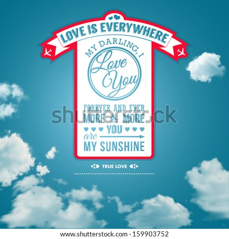 Love you poster in retro style on a summer sky background. Lettering and background can be used separately. Typographical design. - stock photo