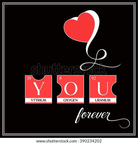 Love You Word Poster Made Periodic Stock Illustration 390234202