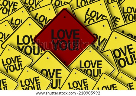Love You written on multiple road sign  - stock photo