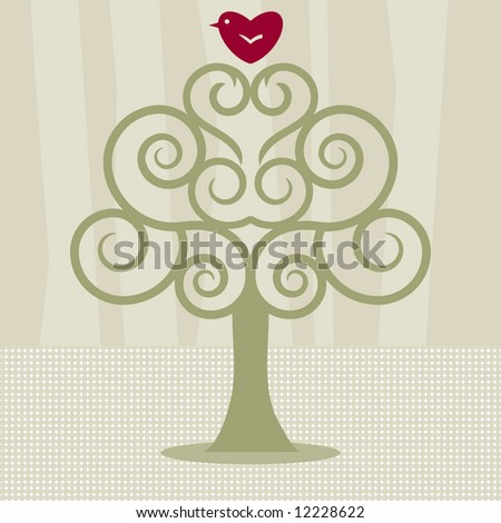 Lovebird on swirly tree