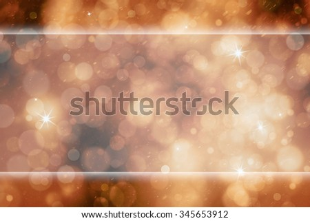 Lovely abstract bokeh orange red color greeting card with glass effect copy space banner and sparkle. Beautiful turquoise colored Happy Holidays greeting card illustration background. - stock photo