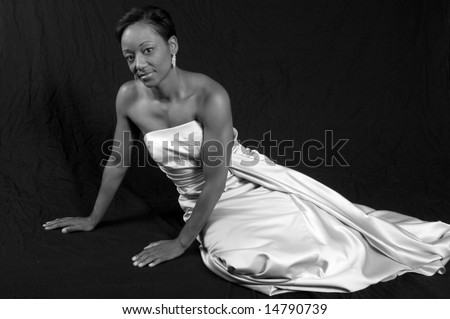 Lovely African American woman in black and white - stock photo