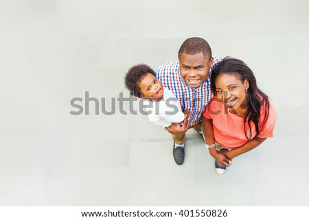 lovely african family - top view - stock photo