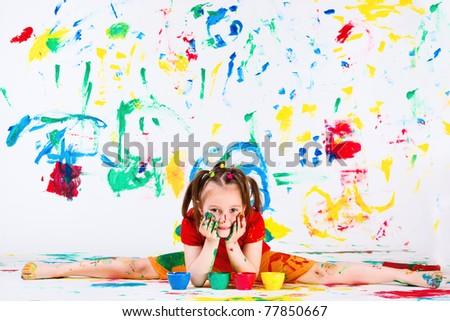 Lovely artistic preschool girl doing splits - stock photo