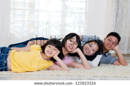 lovely asian family - stock photo