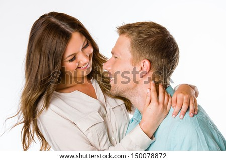 Lovely attractive couple together, studio shot, white background