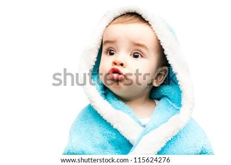 Lovely baby boy isolated on white background - stock photo