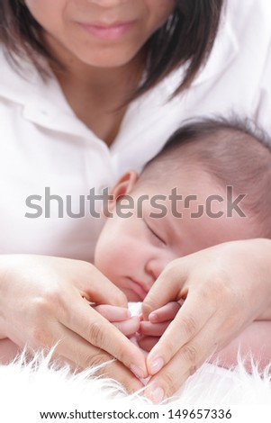 lovely baby with Mam use hand for show love concept