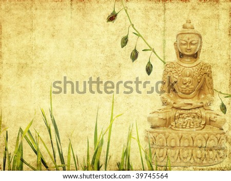 lovely background image with buddha. useful design element. - stock photo