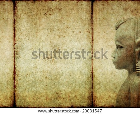 lovely background image with close-up of west african wooden figure - stock photo