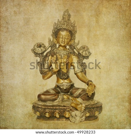 lovely background image with indian statue - stock photo