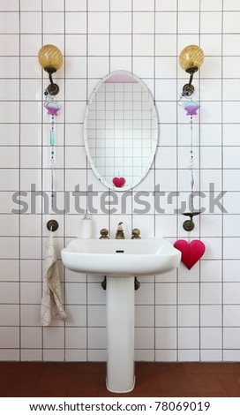 lovely bathroom in style classical, mirror and sink - stock photo