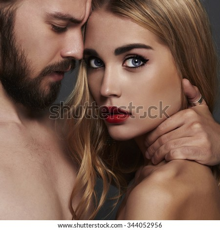 lovely beautiful couple.sexy woman and handsome man.boy and girl together - stock photo