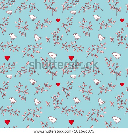 lovely beautiful floral seamless pattern with birds in jpg