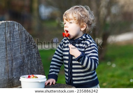Lovely blond boy of two years eating strawberries outdoors. - stock photo