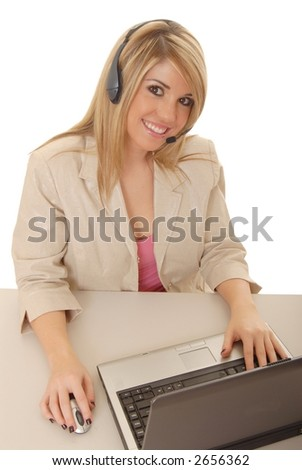 Lovely blond woman working at help desk