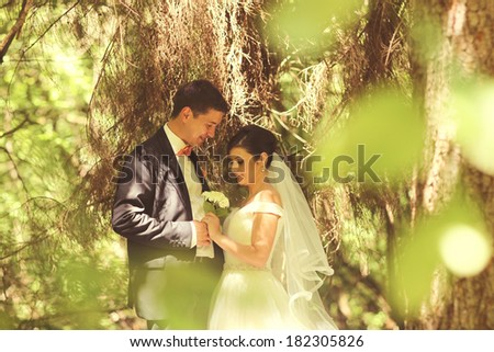 Lovely bridal couple in the forest - stock photo