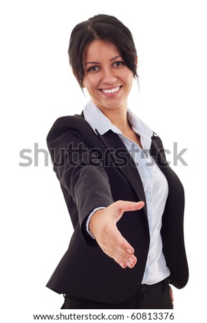 lovely business woman with an open hand ready for handshake - stock photo