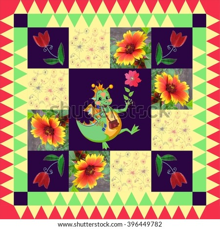 Lovely childish tablecloth. Year of the Dragon. Festive bandana print or beautiful panel with happy dragon and bright flowers. Chinese zodiac sign.  - stock photo