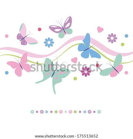 lovely colorful butterflies flowers and hearts greeting card - stock photo