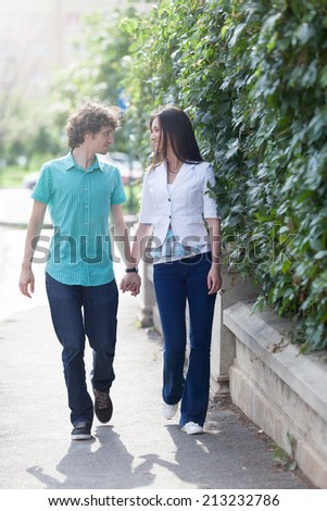 Lovely couple having great quality time in the city streets.