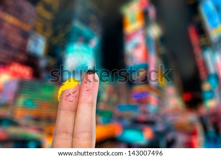 Lovely couple in New York City - stock photo