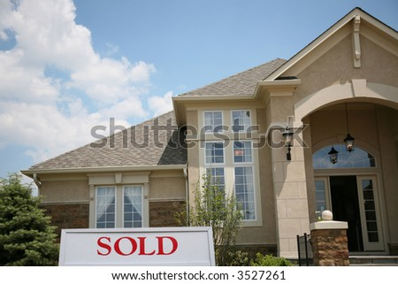 Lovely dream home sold in an upscale neighborhood - stock photo