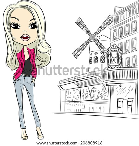 Lovely fashion girl in sketch style near Moulin Rouge in Paris - stock photo