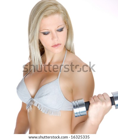 lovely fitness instructor with dumbbell over white - stock photo